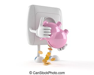 Outlet character holding piggy bank