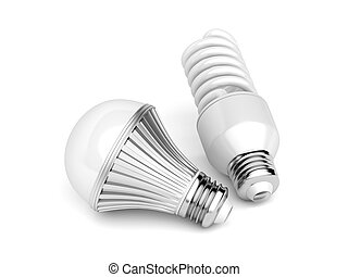 LED and CFL light bulbs on white background