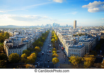 skyline of Paris from place de l toile, France - skyline of...