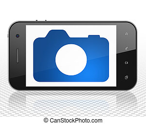 Tourism concept: Smartphone with Photo Camera on display -...