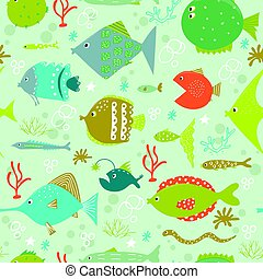 Seamless pattern with cute fishes