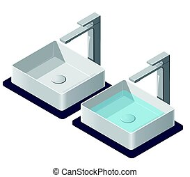 Two bathroom sinks. Isometric basin with tap. Kitchen interior infographic element.