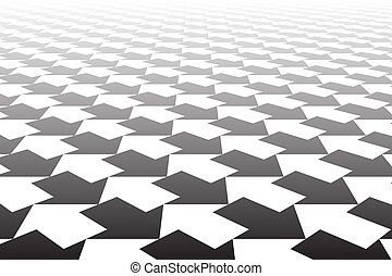 Black and white arrows pattern. Diminishing perspective....