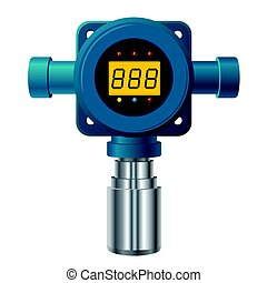 Vector gas detector. Blue gas meter with digital LCD...