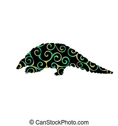 Armadillo mammal color silhouette animal. Vector...