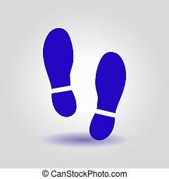 Shoe print symbol. - Black Imprint soles shoes icon. Flat...
