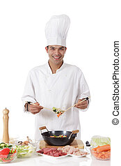 Cheerful nepalese man chef, fresh ingredients - Young...