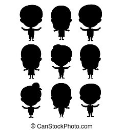 Kids silhouette happy young expression cute teenager cartoon character little kid vector illustration.