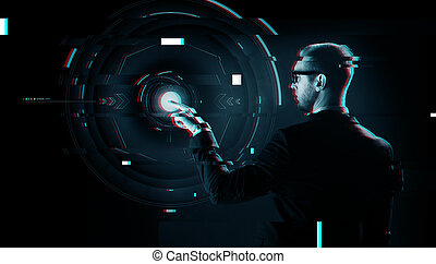 businessman pointing finger to virtual projection -...