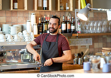 barista with holder and tamper making at coffee - small...