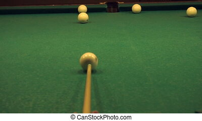 game of Russian Billiards - Closeup of a game of Russian...