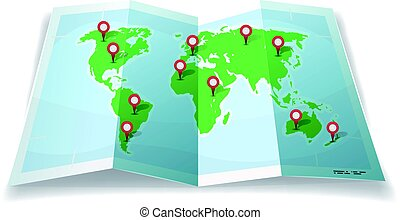 Travel World Map With GPS Pins - Illustration of a cartoon...