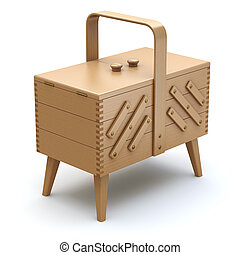 Wooden expandable sewing box with the legs - 3D illustration