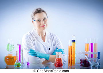 Chemical technologist in laboratory environment. Scientist...