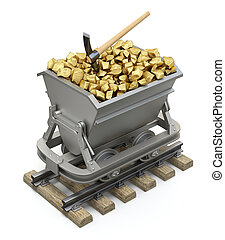 Gold nuggets in the mining cart - 3D illustration