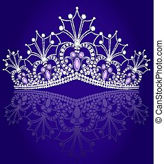 illustrations crown diadem feminine with reflection on turn blue background