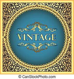 Illustration vintage background frame with a gold floral pattern