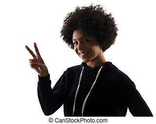 young teenager girl woman peace sign gesture shadow...