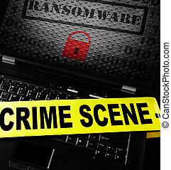 Computer ransomware crime scene