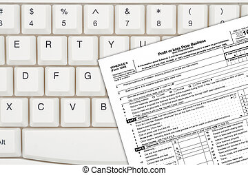 A US Federal tax Schedule C for 1040 income tax form