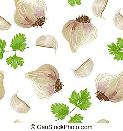 Fresh parsley and garlic. seamless pattern vector Set...