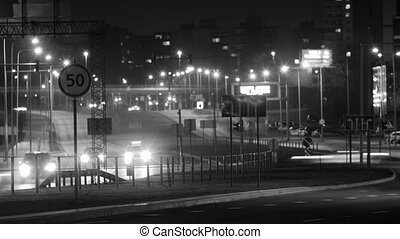 Time Lapse of Street Traffic at Night in Vilnius, Lithuania....