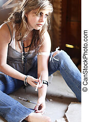 Woman with drug addiction. - Young woman with drug...