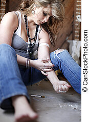 Woman with drug addiction - Young woman with drug addiction