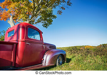 Old red farm truck parked under autumn tree. Blue sky...