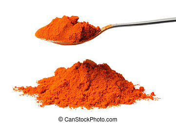 Cayenne Pepper - Teaspoon with cayenne pepper isolated on...