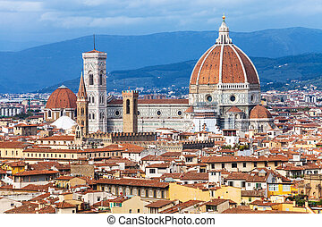 above view of Florence town with Duomo