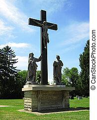 Jesús, Cristo, estatua, cruz