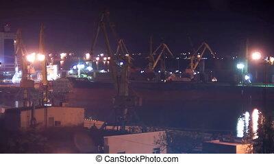 Night crane harbor