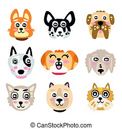 Set of funny cartoon dogs heads. Dogs of different breeds...
