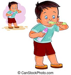 Vector illustration of a little boy brushing his teeth with toothpaste.