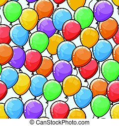 Vector seamless pattern with multicolored ballons. Happy...