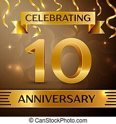 Ten Years Anniversary Celebration Design. Confetti and gold...