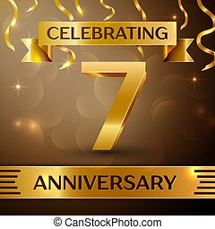 Seven Years Anniversary Celebration Design. Confetti and gold ribbon on golden background. Colorful Vector template elements for your birthday party. Anniversary ribbon