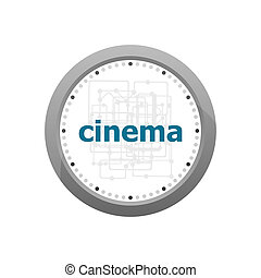 cinema word on digital screen. information concept ....