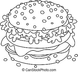 Big tasty sandwich - Black and white vector illustration of...