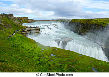 Gullfoss waterfall in Iceland - Reykjavik, Iceland - July...