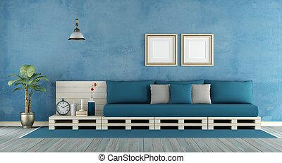 Blue retro living room