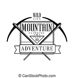 Mountain climbing adventure logo. Mountain hiking,...