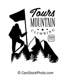 Mountain climbing tours logo. Mountain tourism, ,...