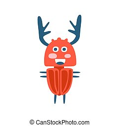 Cute cartton deer beetle, colorful character vector...