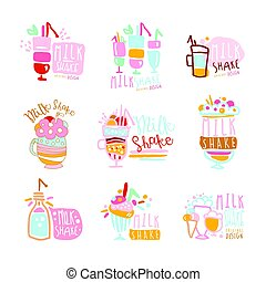 Milk shake labels set. Colorful hand drawn vector collection of milk shake illustrations