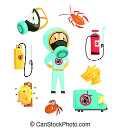 Exterminators of insects in chemical protective suit with equipment and products set. Pest control service cartoon colorful Illustrations