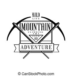 Mountain climbing adventure, wild life logo. Mountain...