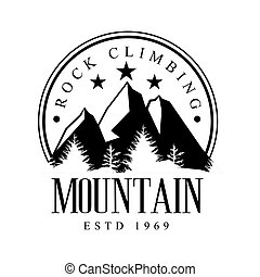 Mountain rock climbing logo. Mountain tourism, , exploration...