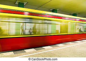 Train coming to the subway station, Berlin - Germany - Train...